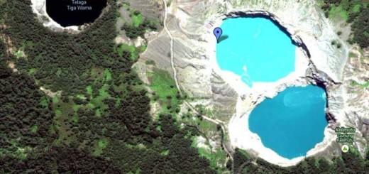 Satellite view of Lake Kelimutu