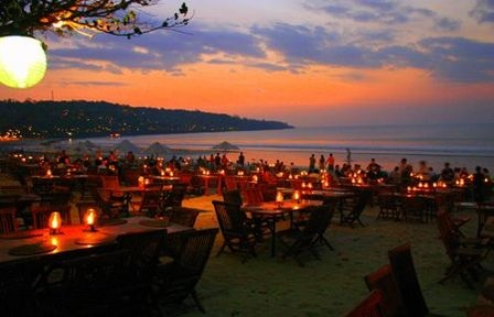 A lovely sunset with candle light party