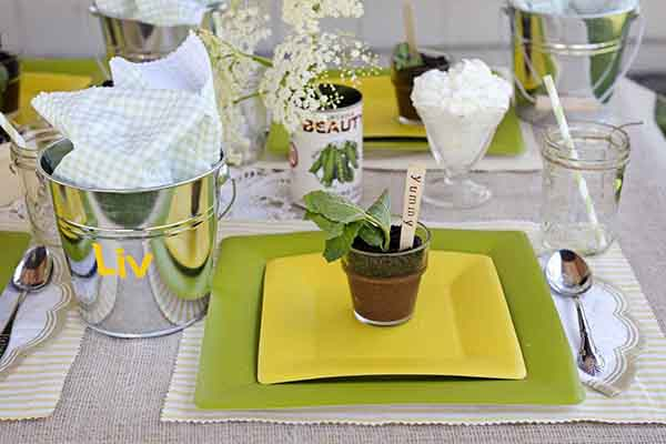 Green Party Table Settings