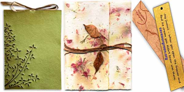 Recycled paper / leather invitation cards